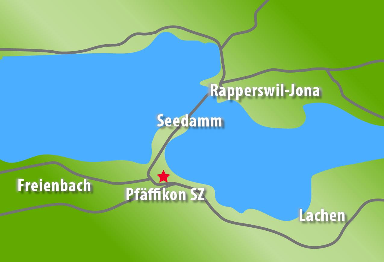 Anfahrtsplan, Seedamm, Freienbach, Pfäffikon SZ, Altendorf, Lachen, Bäch, Wilen Wollerau