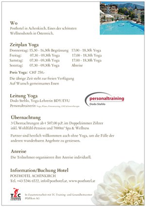 Flyer Rückseite Yoga & Wellness an Auffahrt 2018 im Posthotel in Achenkirch