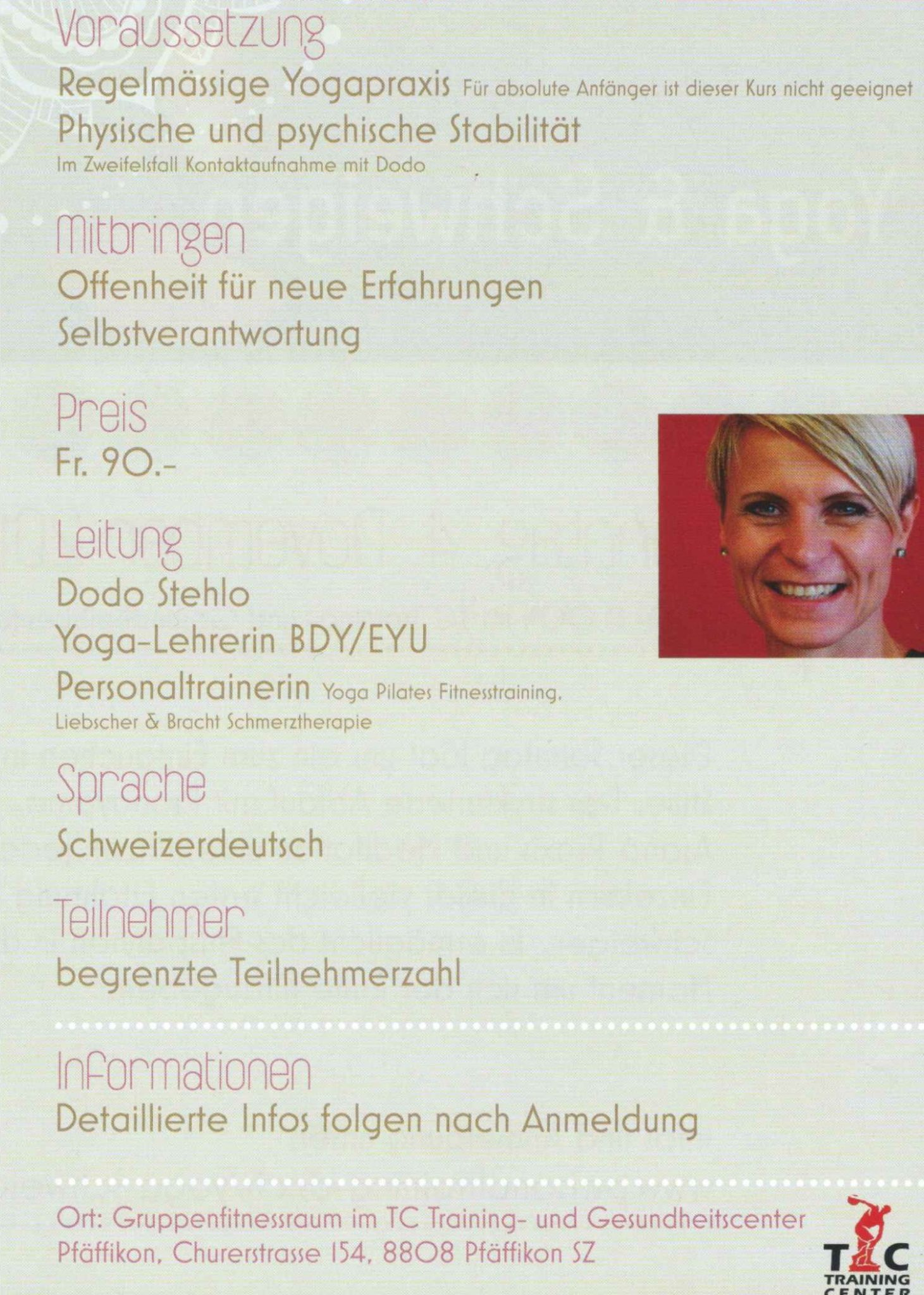 Flyer Rückseite Yoga & Schweigen 2018 mit personaltraining Dodo Stehlo