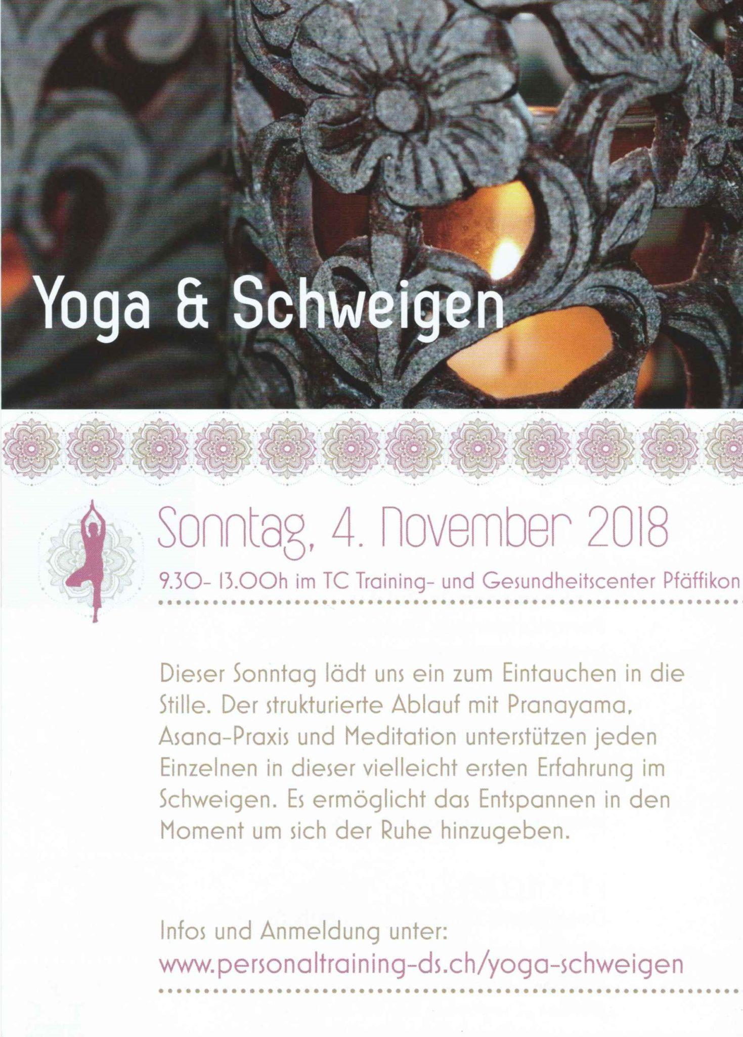 Flyer Yoga & Schweigen 2018 mit Personaltraining Dodo Stehlo