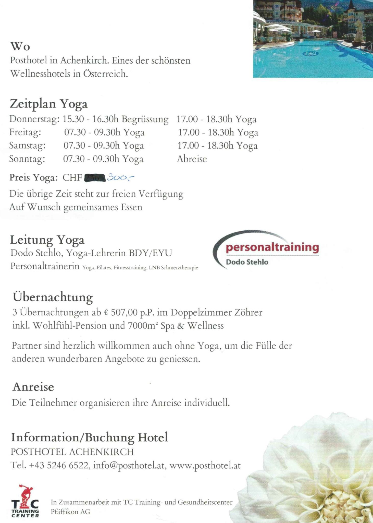 Flyer Rückseite Yoga & Wellness an Auffahrt im Posthotel in Achenkirch
