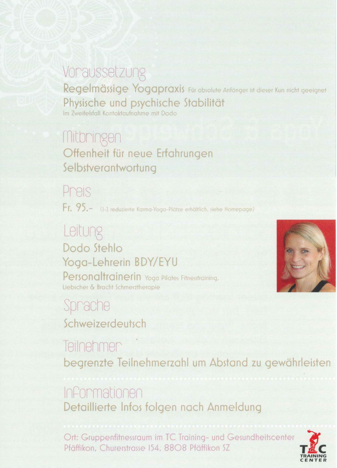 Flyer Rückseite Yoga & Schweigen 2020 mit Personaltraining Dodo Stehlo