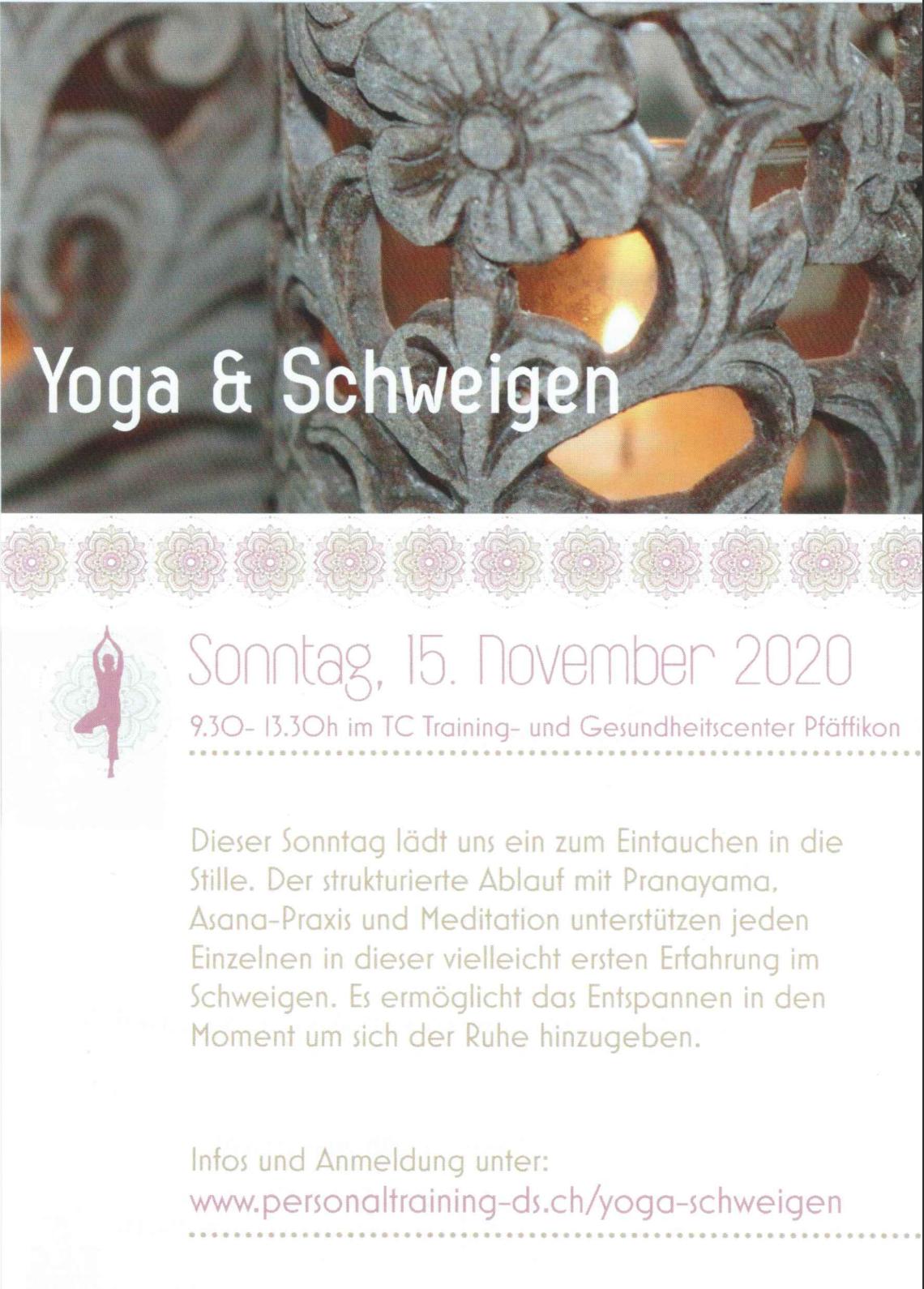 Flyer Yoga & Schweigen 2020 mit Personaltraining Dodo Stehlo
